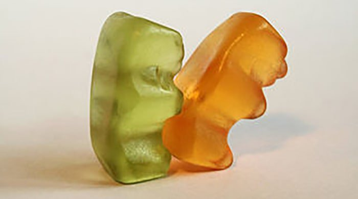Two gummy bears having sizzling sex