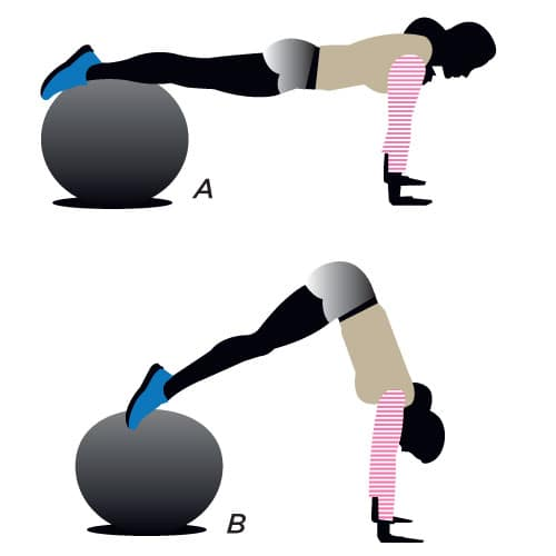 stability ball pike for a flat belly fix