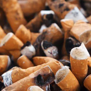 Cigarette stumps from someone who has been smoking
