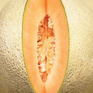 A sweet melon cut to look like a vagina