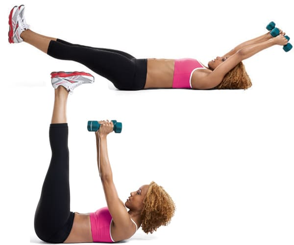 Arm-pull-over-straight-leg-crunch