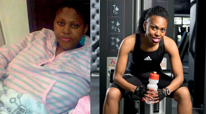 Zintle's before and after photo that links to her personal weight loss success story where she reveals her secret weapon for losing weight