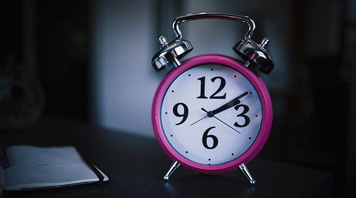 Alarm clock set for bedtime