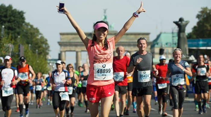 A woman running in one of the world's top destination races