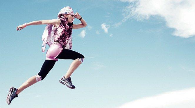 Woman running a race