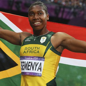 Caster Semenya holding the South African flag