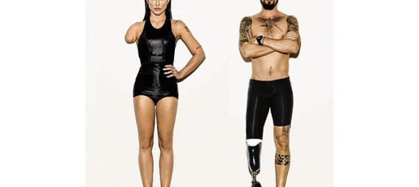 Two models given disabilities in Photoshop to promote the Paralmypics
