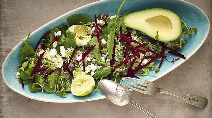 Baby spinach, avo and feta detox salad