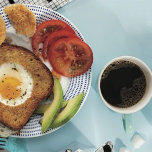 A protein-packed breakfast with toast, egg, tomato and coffee