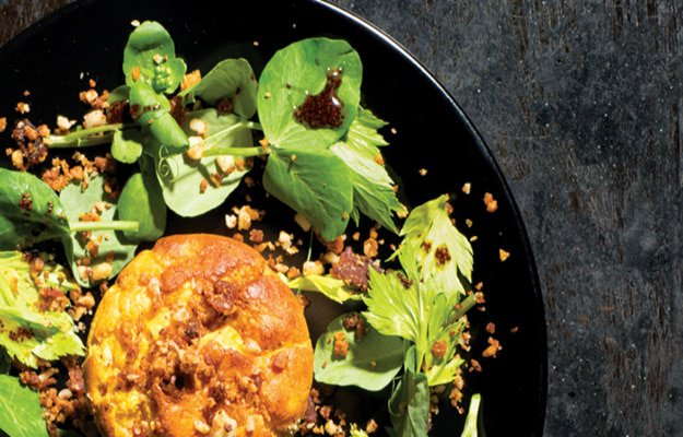 soufflé with bacon crumbs