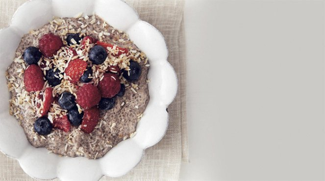 Chia chocolate pudding breakfast bowl