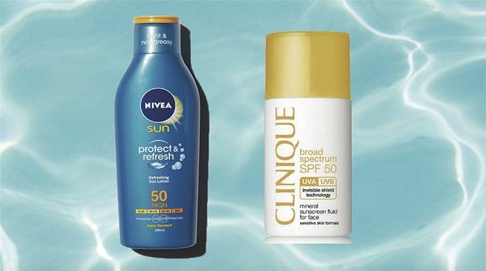 Nivea and Clinique sunscreen