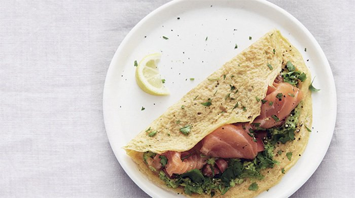 breakfast egg wrap with salmon