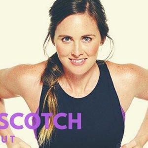 Woman doing the hopscotch workout