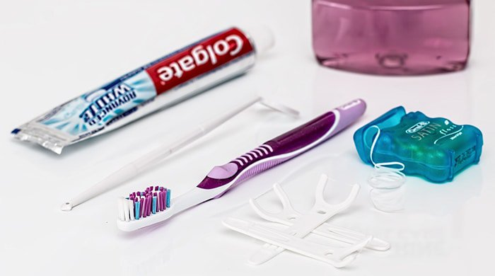 toothbrush and dental products you keep in a bathroom
