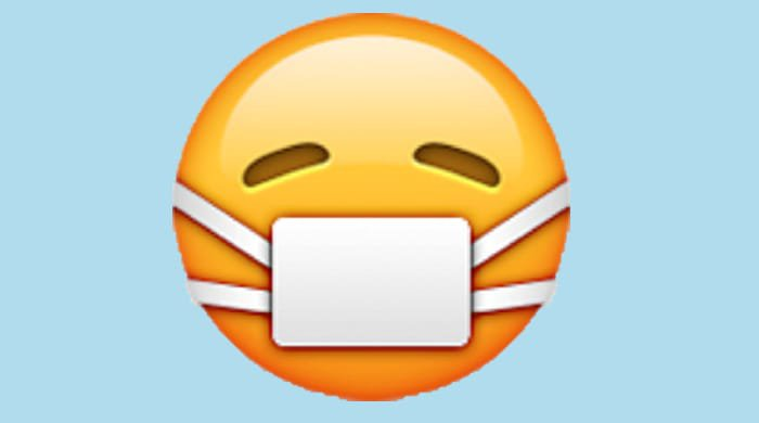 An emoji with a mask over it's mouth to represent having gross smelly chunks in your mouth