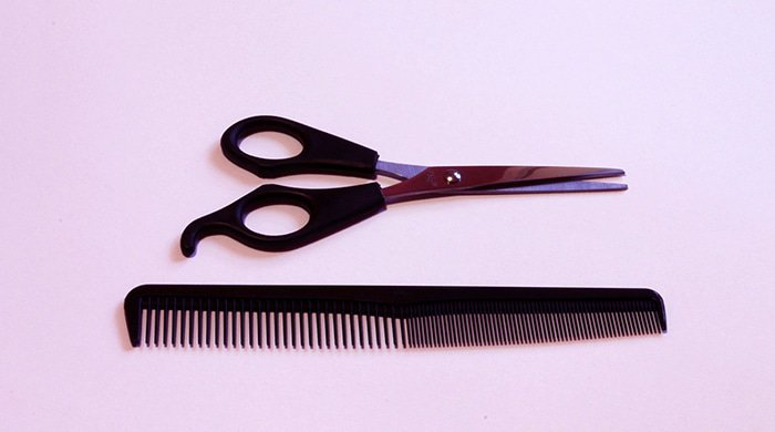 A comb and scissors are tools you need for a haircut