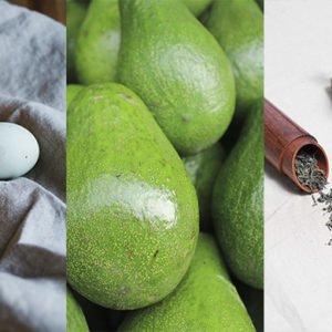 Ketogenic foods like eggs, avocados and green tea