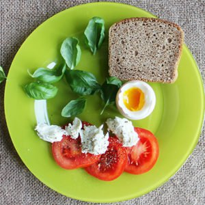 a plate of food that has followed portion control guidelines