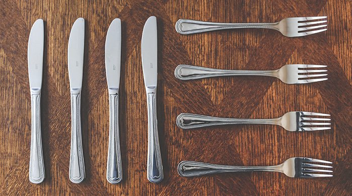 Knives and forks ready lined up for a meal