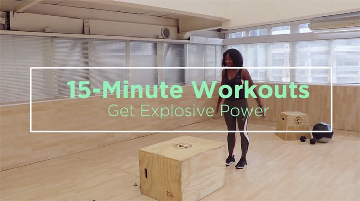 A woman doing an explosive 15-minute HIIT workout