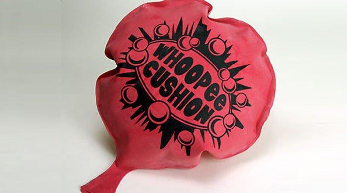 A whoopie cushion that makes a fart sound