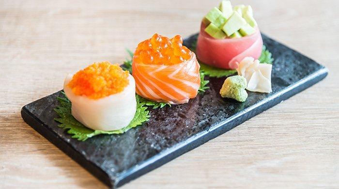 Japanese rolls on a sushi menu