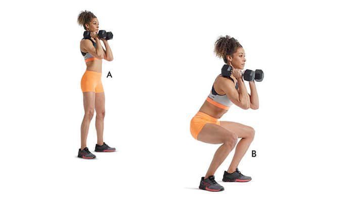 dumbbell front squat helps strengthen back muscles