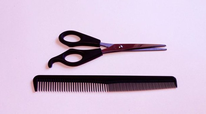 a comb an they kind of scissors you will find in a hair salon