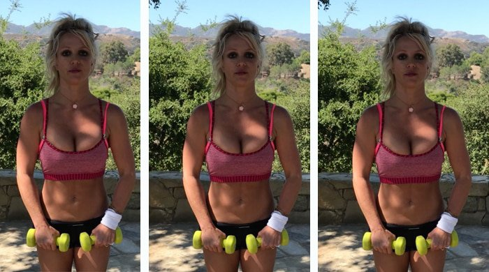Britney Spears shows off her instagram workout