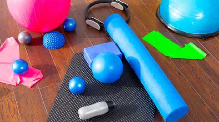 foam rolling equipment thats on a gym floor