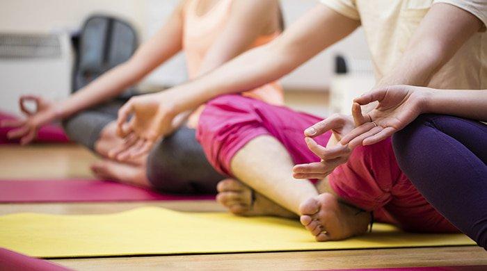 A group of people on yoga mats doing a yoga challenge