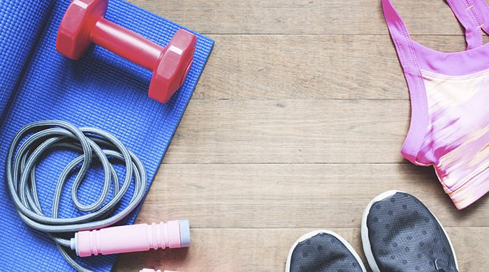 flatlay of workout equipment that will aid weight loss