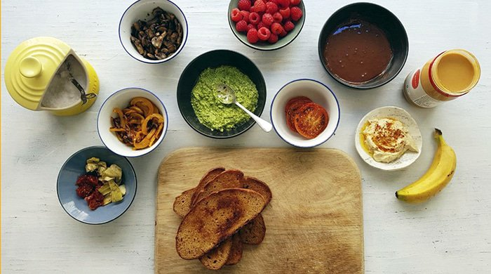 flat lay of toast toppings