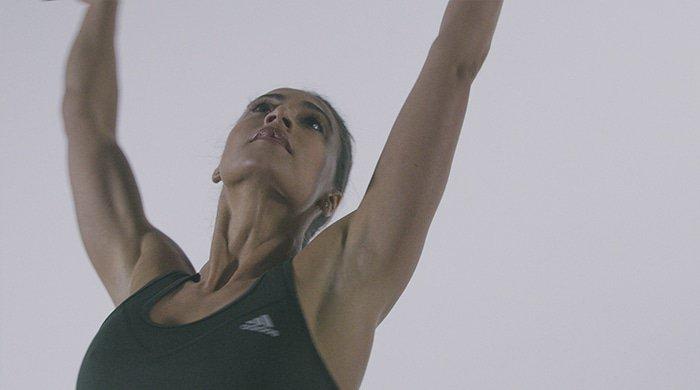Cara-Lisa Sham doing yoga for Adidas campaign