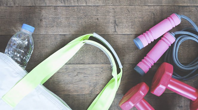 fitness gifts flat lay