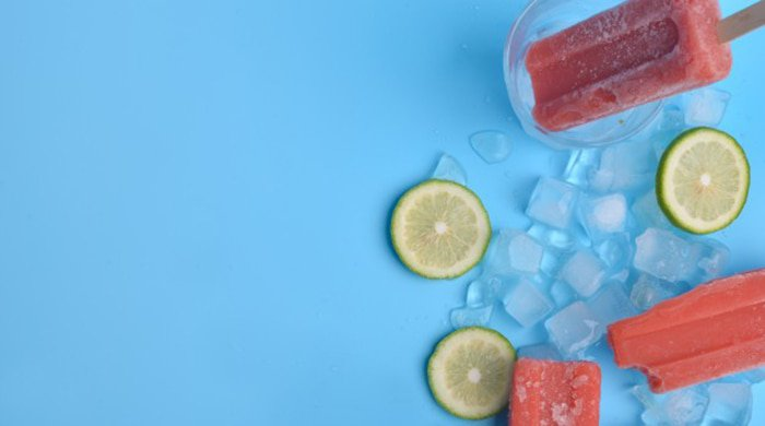 ice lollies on a blue background