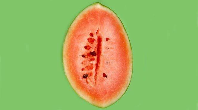 A watermelon sliced to look vaginas