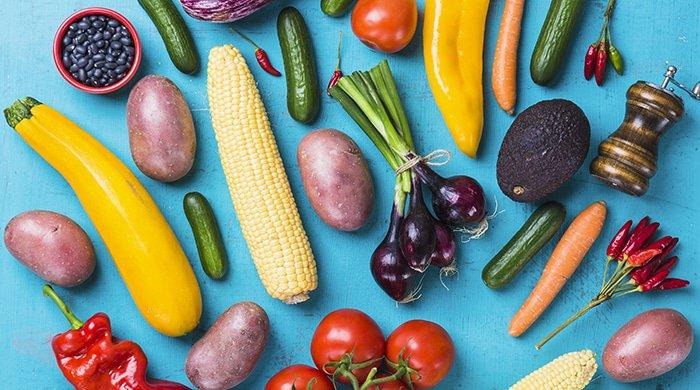 Vegan foods on a blue background