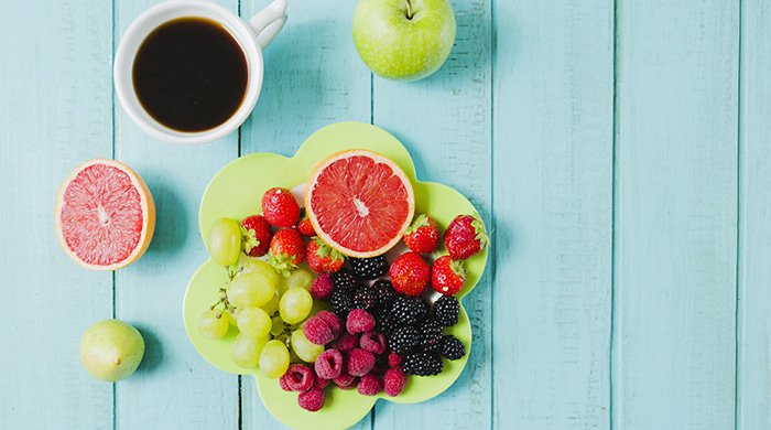 A healthy breakfast spread to represent a fasting diet