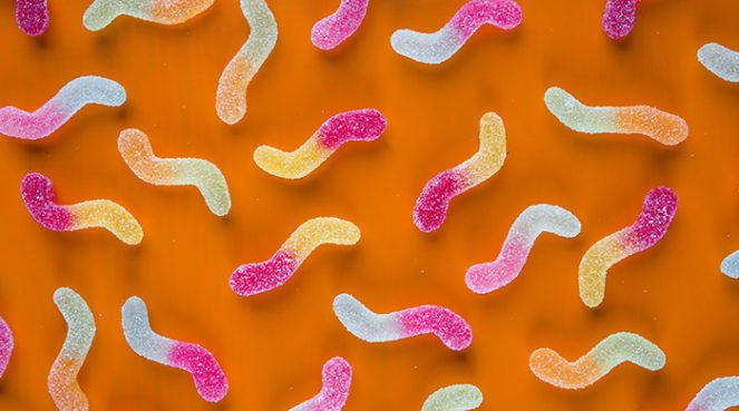 Jelly worms that look like candy versions of sperm and precum