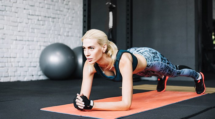 A woman doing a quickie workout