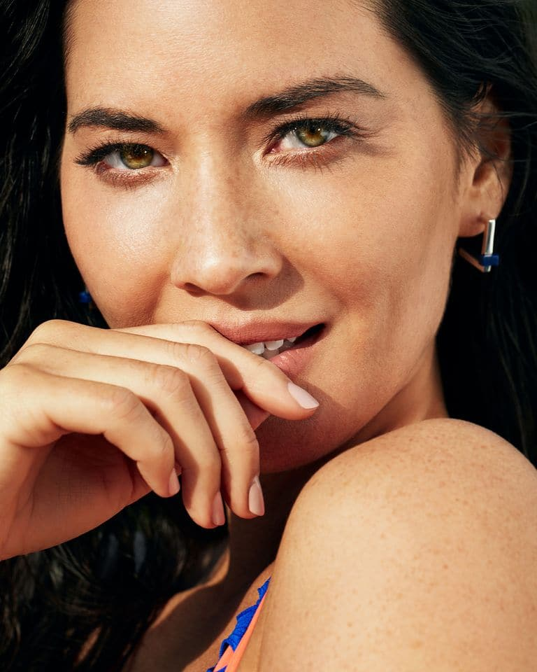 close-up of olivia munn women's health cover shoot
