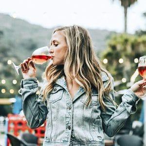 A woman binge drinking