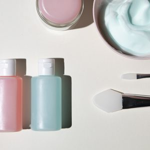 double cleansing beauty products flat lay